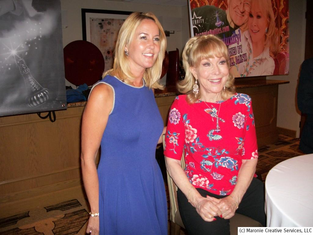 Two 1960's TV icons pose together at the Hollywood Show Chicago on September 7, 2013. At left is actress Erin Murphy, Tabitha from Bewitched, posed with everyone's favorite resident in a bottle, Barbara Eden from I Dream of Jeannie.