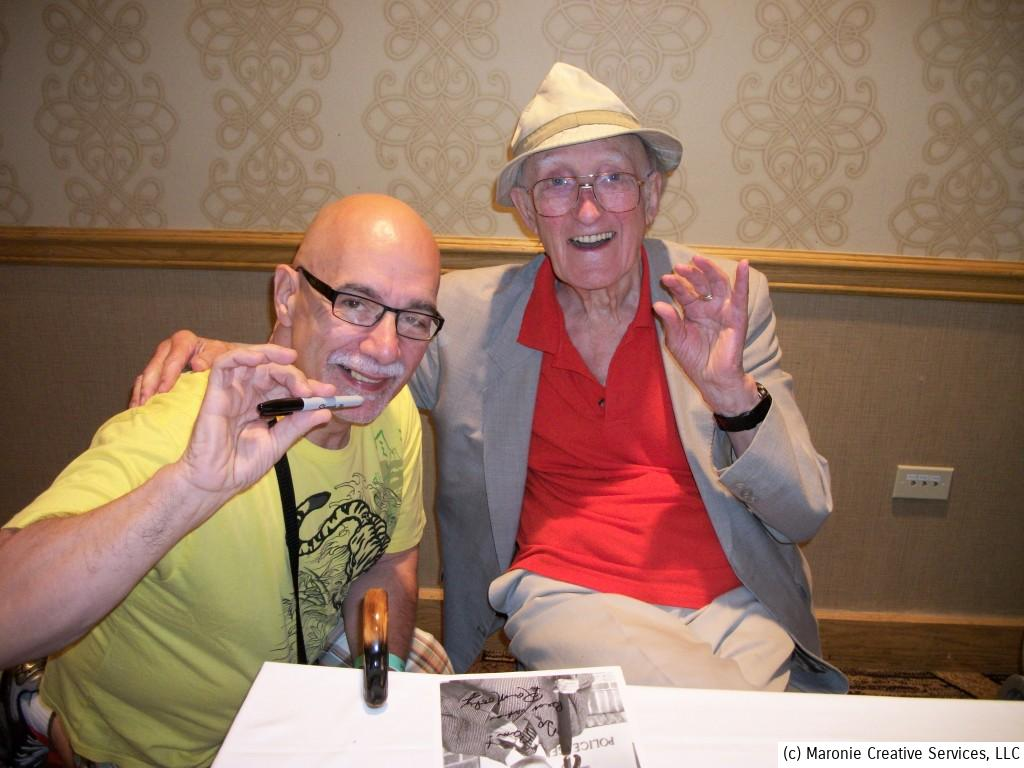 The great Ron Moody and the blogmeister go into our Groucho vamp. The talented British actor told me how much I looked like Julius Marx, and related a wonderful story about meeting the comic legend.