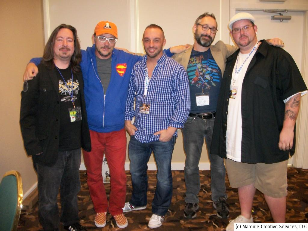 A group photo from one of the many convention panels. From left to right, here's radio movie maven Max Foizy, Scott Lobdell, Phil Jimenez, Rogan Josh and Jeff Balke.