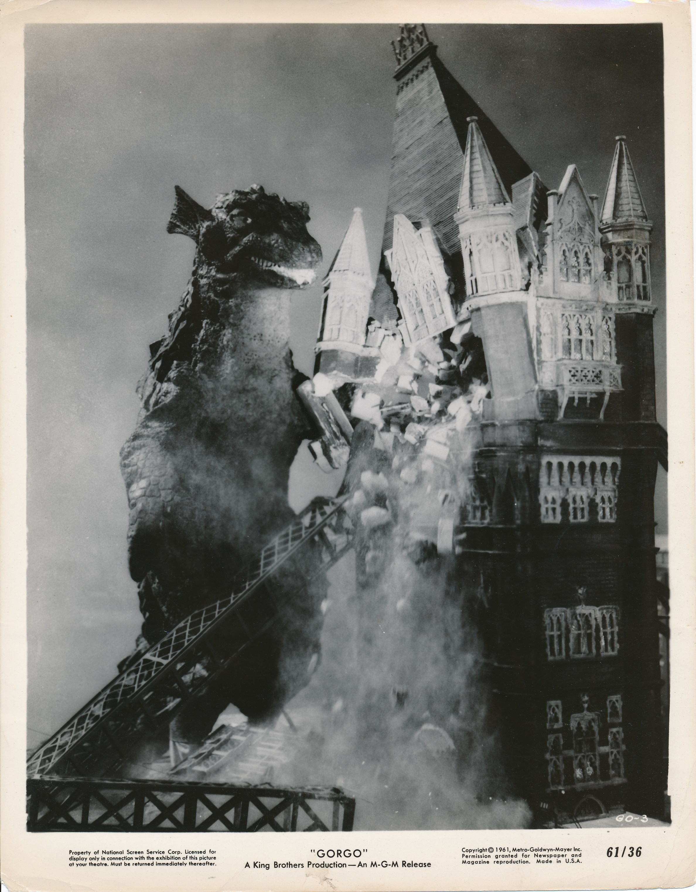 Gorgo (1961) was Godzilla's illegitimate son. Another man-in-a-suit monster, the film was credibly made and featured some interesting miniature work. As entertaining as it was, this King Brothers production was no match for the slick Toho fare that was regularly imported to the USA. (c) MGM