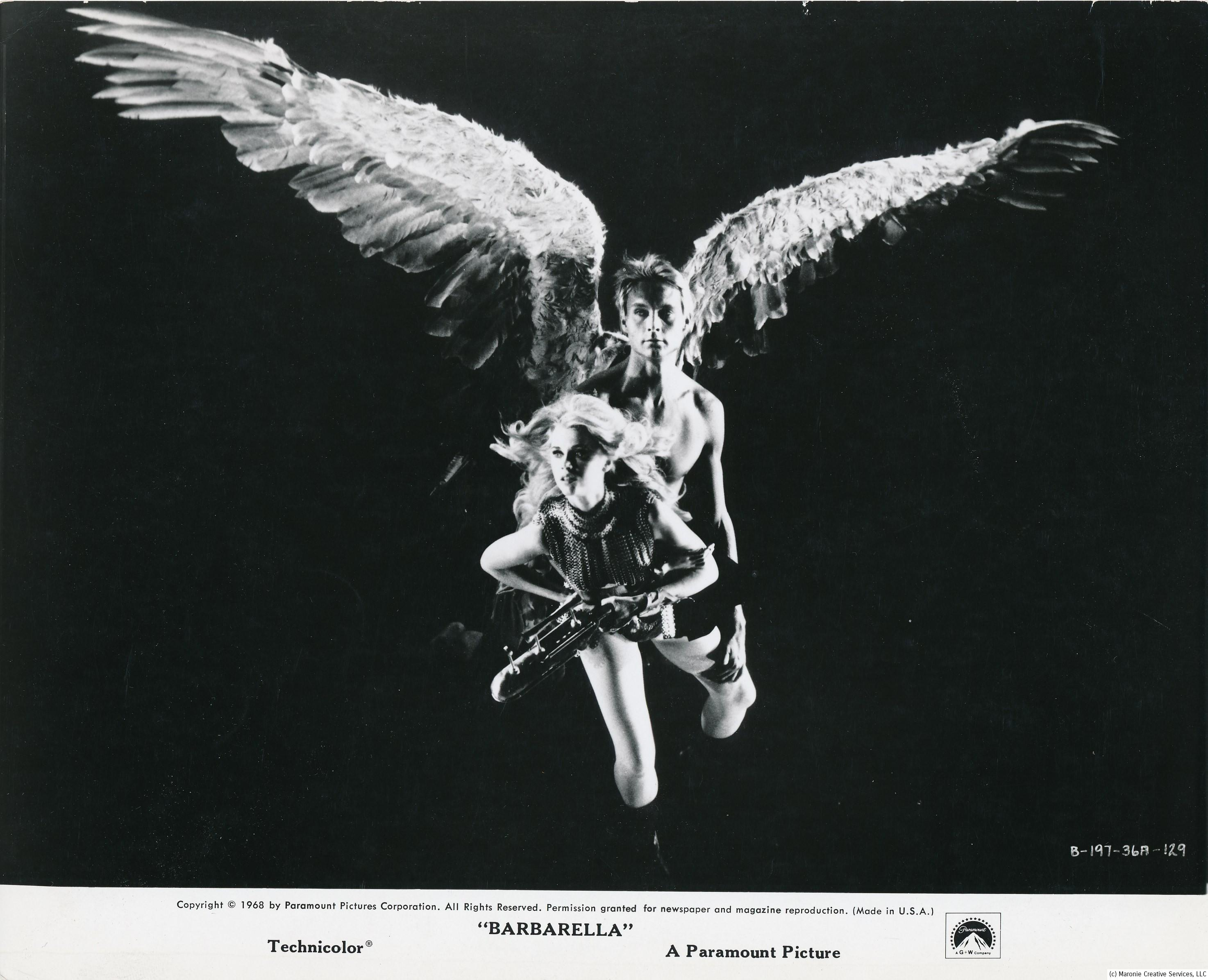 Not technically a monster, this interesting photo from 1968's Barbarella features the late John Phillip Law as a winged wonder. Of course, Jane Fonda from this era is always interesting to look at. (c) Paramount
