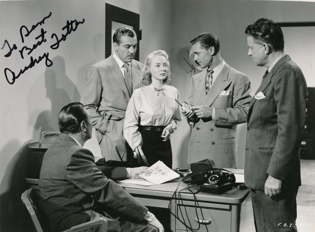 Here's Audrey in a scene from the infamous FBI Girl, a low-budget 1951 epic from Robert L. Lippert. See what the actress has to say about her famous co-star, Ceasar Romero. (c) Lippert Pictures.