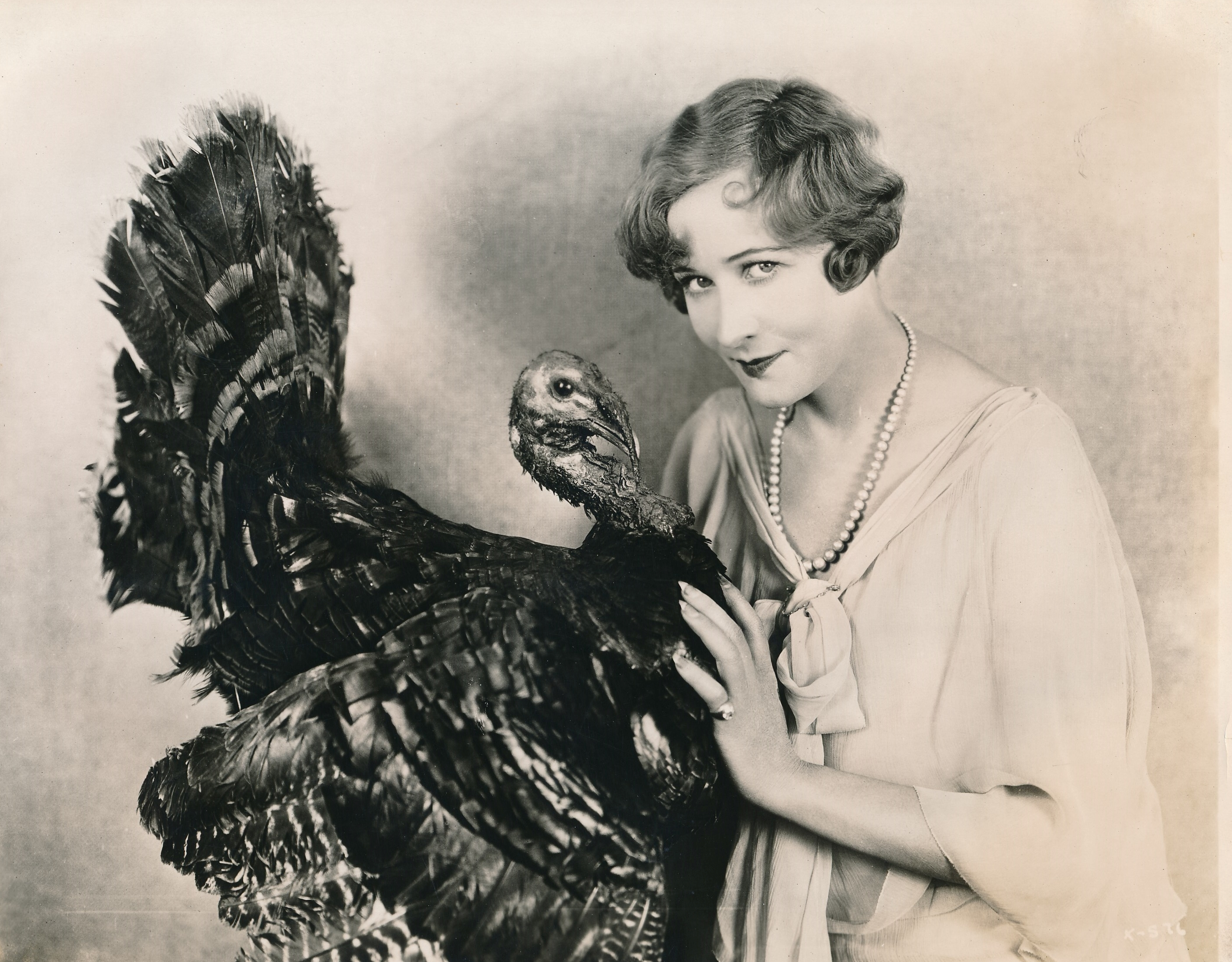 Actress Anna Q. Nilsson gives moviegoers 'the bird' in this excruciatingly-corny Thanksgiving still. Ms. Nilsson's career was no turkey---the Swedish beauty made films as early as 1911 and she segued from leading parts to character work into the 1950s. (c) Warner Brothers