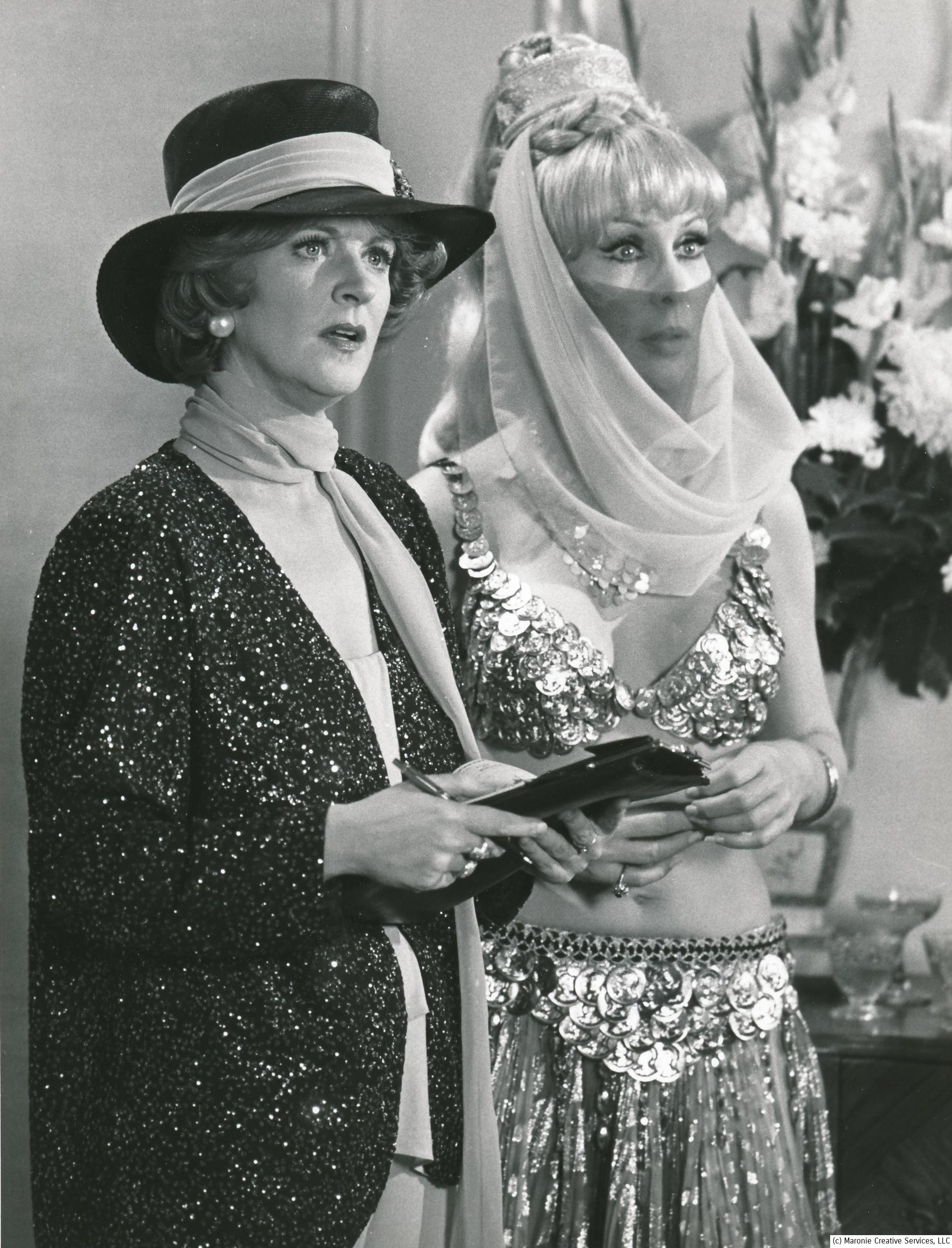 When some actors finish a role, they don't want to be reminded of it. Eden always appreciated her sitcom success and embraced her Jeannie character. Here she is in a Harper Valley episode where she masqueraded as a visiting princess---but we all knew it was really Jeannie!  That's Fannie Flagg on her left. (c) NBC