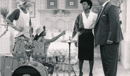 This image is from the first season of Fresh Prince in 1990. From left to right is Will Smith, Tatyana M. Ali, Janet Hubert and James Avery. The series lasted until 1996. (c) NBC