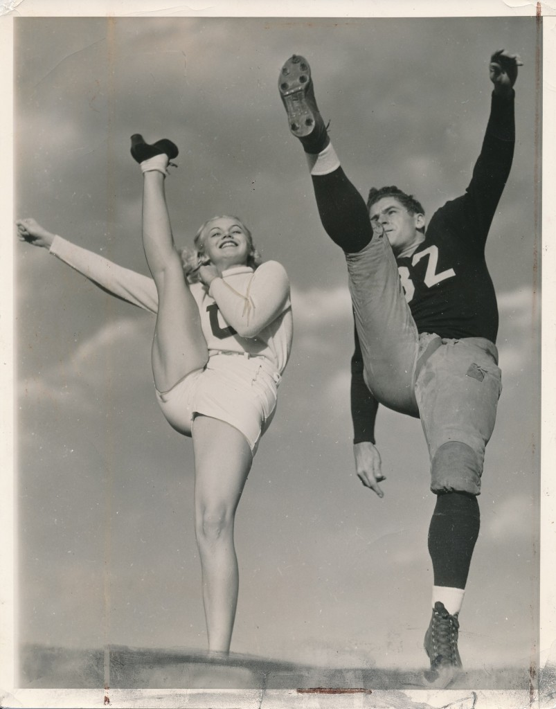 Starlet Marth O'Driscoll participates in a football photo-op with player Elvin Hutchinson.  O'Driscoll made no great splash in Hollywood. The highlights of her lackluster filmography include a role in the iconic House of Dracula. She also appeared in two Olsen & Johnson vehicles (Crazy House and Ghost Catchers, and with Abbott and Costello in Here Come the Co-Eds. Hutchinson was involved in California athletics for much of his career. He played for the defunct Los Angeles Bulldogs, and later spent time coaching and with administrative duties.