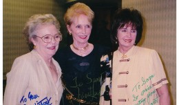 A TRIO OF TITANIC TALENTS! As you can see by their signatures, left is Patricia Hitchcock, daughter of Alfred and actress in several of his films, most notably Psycho. Lady in the middle is the star of said film, Janet Leigh. On the right is today's birthday-girl, Margaret O'Brien, who co-starred with Ms. Leigh in MGMs Little Women. This was taken at one of the 'Monster Ralley' events held in the Washington D.C. area. Date on this photo is 7.26.2000.