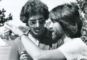 Harold Ramis (l) confers with former hair-bender-turned-producer Jon Peters on the set of the 1980 mega-hit Caddyshack. (c) Warner Brothers