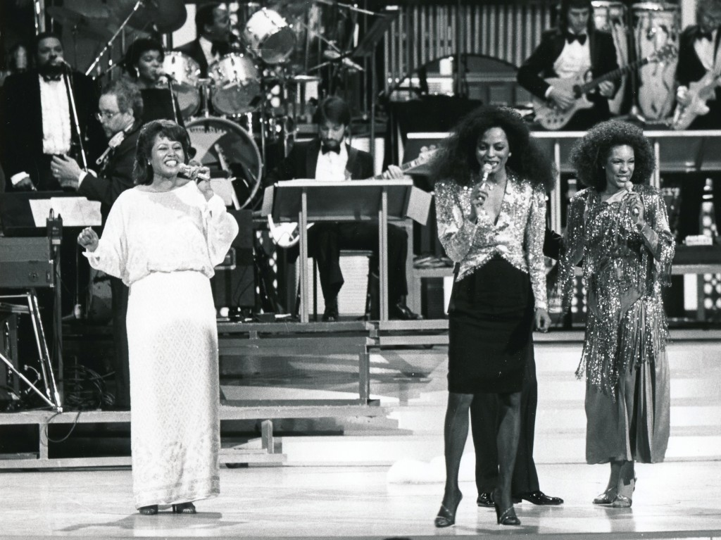 The original 'Supremes' reunite for a Motown TV special. That's Cindy Birdsong (l), Diana Ross and Mary Wilson (r). (c) NBC