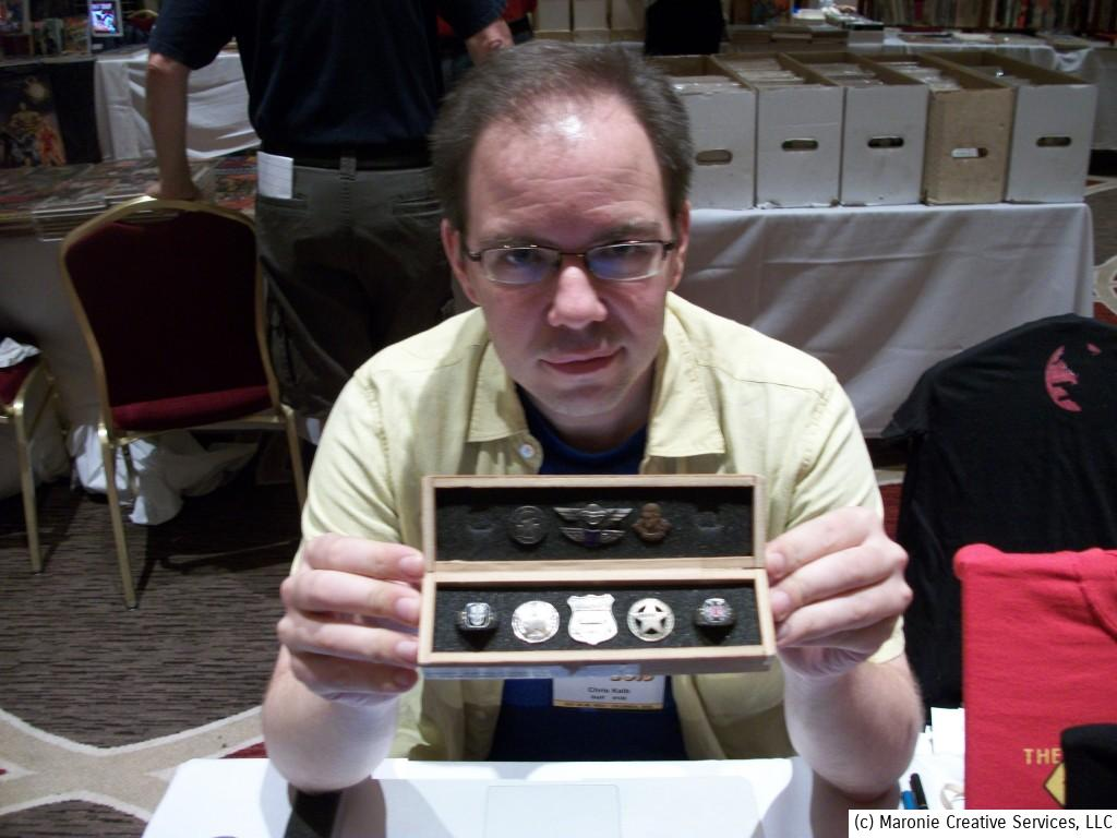 Designer Chris Kalb displays his collection of rare pulp giveaways. Chris gave a spirited talk about the history of pulp premiums during the 3-day show.