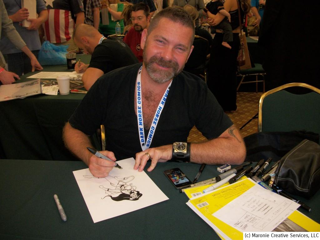 Stephen Sadowski was constantly busy during the convention, drawing for his many fans. Stephen is remembered for his awesome run on JSA.