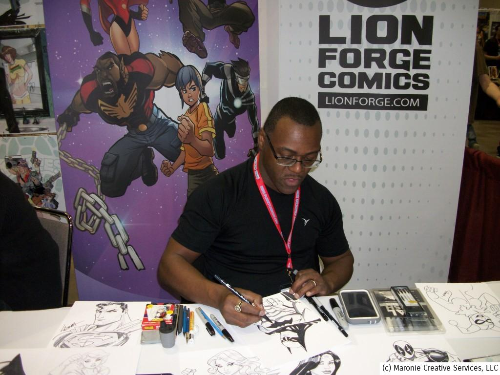 Lorenzo Lizana of Lion Forge Comics sketched for fans during the three-day weekend.