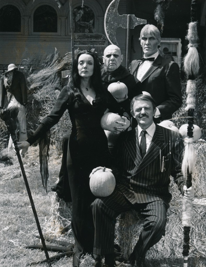 I've got a lovely bunch of pumpkins....The whole gang's here for Halloween with the Adams Family, from a 1977 TV reunion film that featured all the original actors from the 1960's teleseries. Glad to say John Astin (Gomez) is still very much with us; we hope he is for a long, long time to come. (c) NBC