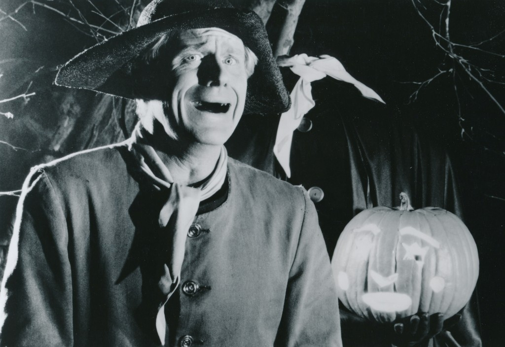 Ed Begley, Jr. tries to outmug the pumpkin on his left. This scene from the Showtime acclaimed series, Shelley Duvall's Tall Tales & Legends episode The Legend of Sleepy Hollow. Begley, son of famed dramatic actor Ed Begley, Sr., effortly glides back and forth from comedy to drama roles with great skill. He's one of my favorites. (c) Showtime