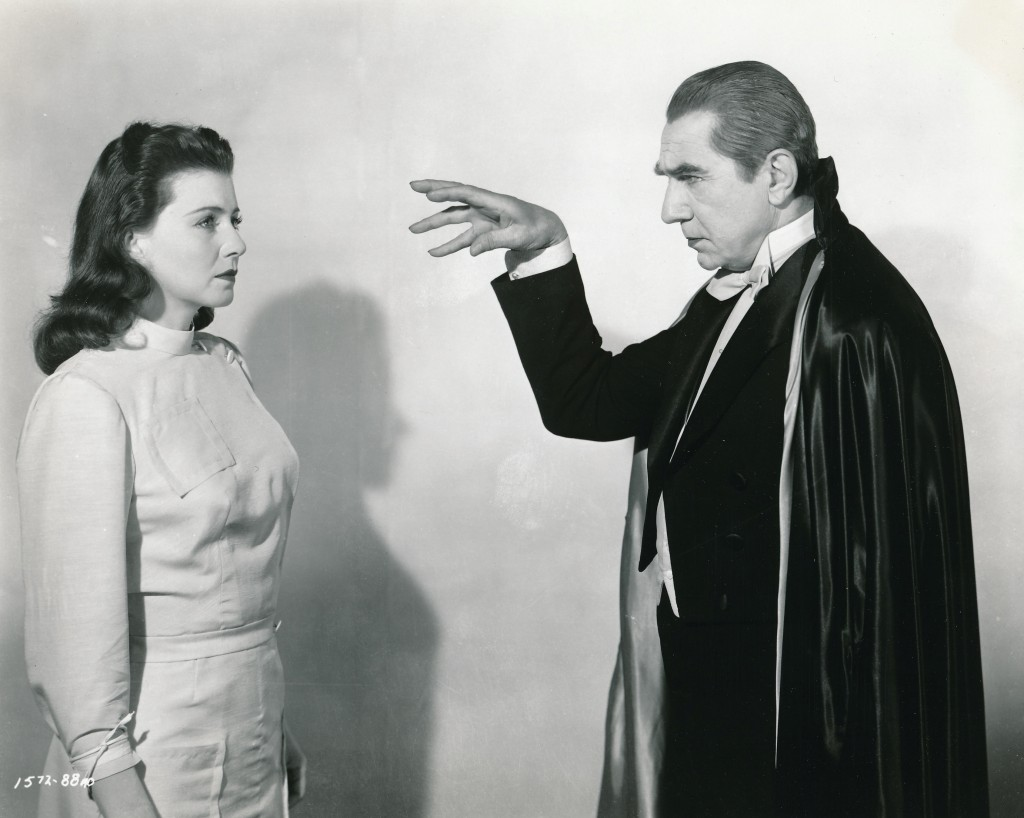 This great production still from Abbott and Costello Meet Frankenstein (1948) shows off Bela to great advantage! Even though the actor was well past his prime, doesn't he look vibrant and vital here? He had the good fortune to be part of this classic, which was really his last good film. Under his spell is luscious Lenore Aubert. She was imported from Austria by producer Sam Goldwyn and given a phony French name to enhance her 'mystery'. She quickly fell out of favor with Goldwyn and knocked around the lower rungs of Hollywood fare. This is the only movie in her portfolio that she'll be remembered for. (c) Universal Studios