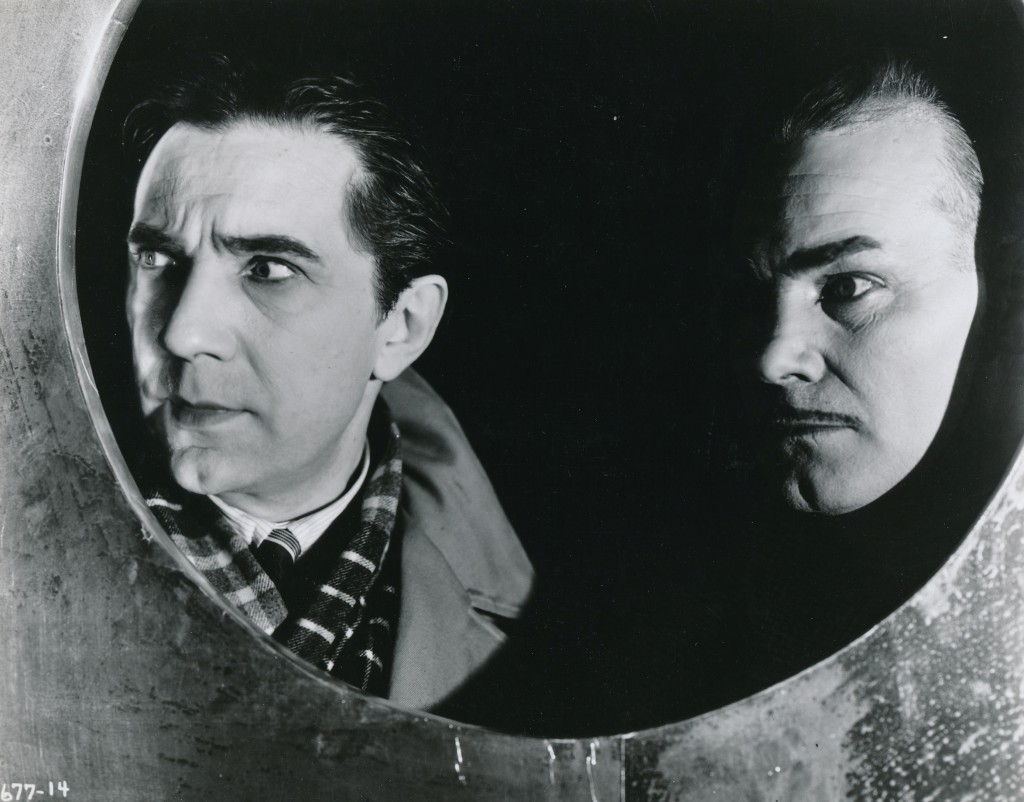 One of the great horror films of the 1930s, The Black Cat co-starred Bela Lugosi and Boris Karloff. Another pre-code piece featuring liberal helpings of necrophilia, torture and satanism--and that's just for starters! This 1934 production was directed by the legendary Edgar G. Ulmer and featured Lugosi in a rare sympathetic part--sort of. Check your brain at the door and enjoy the hammy overacting and the striking Art Deco sets. (c) Universal Studios