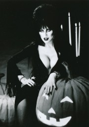 Elvira, Mistress of the Dark, proudly displays her pumpkins while promoting the WCW Halloween Havoc of a few years ago. I had the pleasure of interviewing E (actually blonde Cassandra Peterson) several years ago and found her an intelligent, witty woman--and a genius at self-promotion. (c) Queen B Productions. Photo by David Goldner