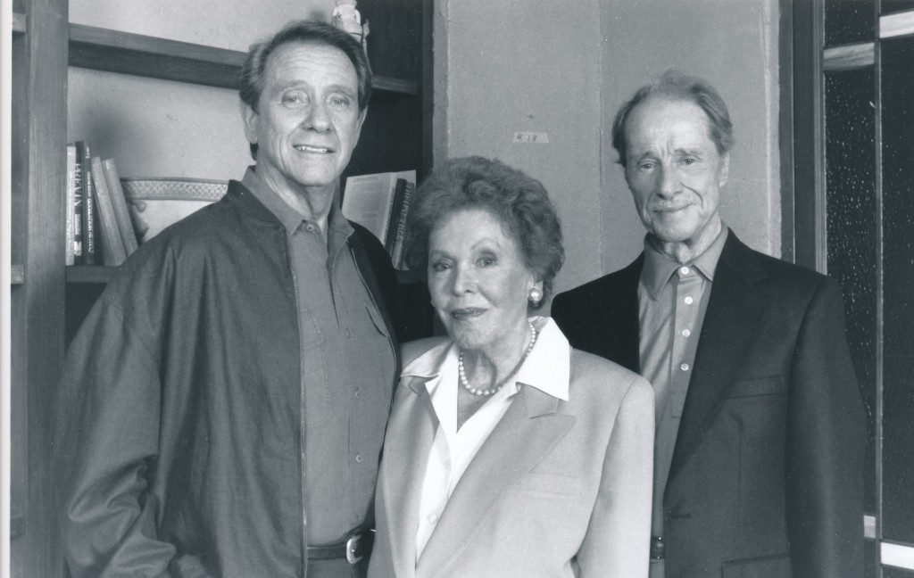 Two sterling examples of Hollywood class: Maureen O'Sullivan and Don Ameche. They are alongside Richard Crenna in a 1991 episode of his series, Pros and Cons. O'Sullivan had a long and varied big-screen career, as did Ameche; she for her portrayal of Tarzan's Jane and Ameche as Alexander Graham Bell and the co-star of many Fox musicals. c) ABC