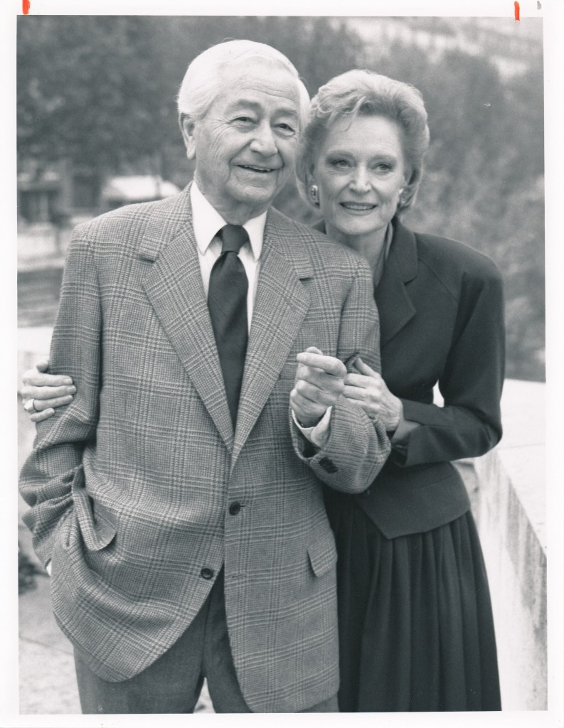 Here's a two-for-one. Another classic movie star who turned to the small-screen with success in not one, but two series. Robert Young, star of Father Knows Best and also Marcus Welby, M.D. poses with big-screen icon Alexis Smith. The occassion for this teaming was a 1988 TV movie, Marcus Welby, M.D.: A Holiday Affair. c) NBC