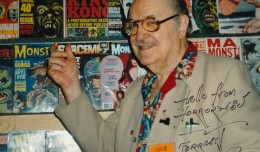 Forrest J-no-period Ackerman, appearing at Defcon in Tulsa, Oklahoma, circa 2000. Just one of the thousands of conventions--small and large--that the lifelong fan attended in his lifetime.Exclusive photo by Sam Maronie.