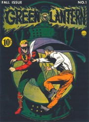 Martin Nodell's cover to the historic Green Lantern #1 in 1940. Though considered 'crude' by today's slick standards, this image is a teriffic composition of color, action and drama....it's timeless!