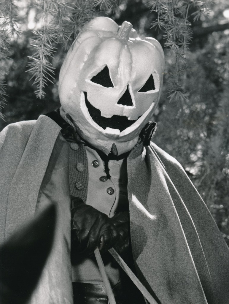 .....You can't be any more pumpkin than this..... Actor Simon McPeak played a Revolutionary War hero who donned a pumpkin-head to hijack arms from British forces. The Phantom Rebel was a 1976 special telecast. (c) NBC