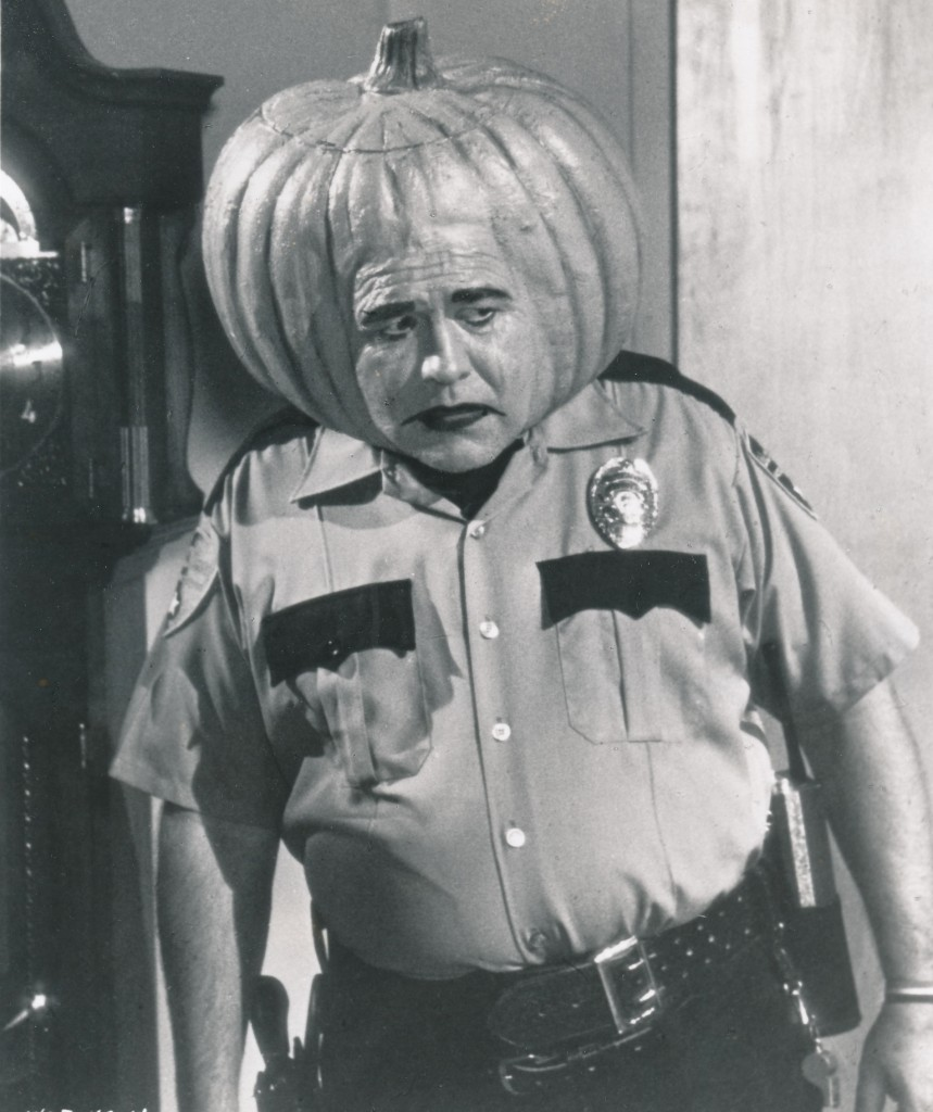 Mirror, mirror on the wall--who's the greatest pumpkinhead of them all? That would, of course, be the late, great Jonathan Winters. This unique still is from the Halloween Hall of Fame episode from TV's The Wonderful World of Disney from 1977. Wouldn't you love to see Wingters' outtakes from this special? (c) Disney