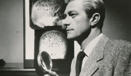 Richard Denning in an atmospheric portrait from 1955's Creature with the Atom Brain. (c) Columbia Pictures