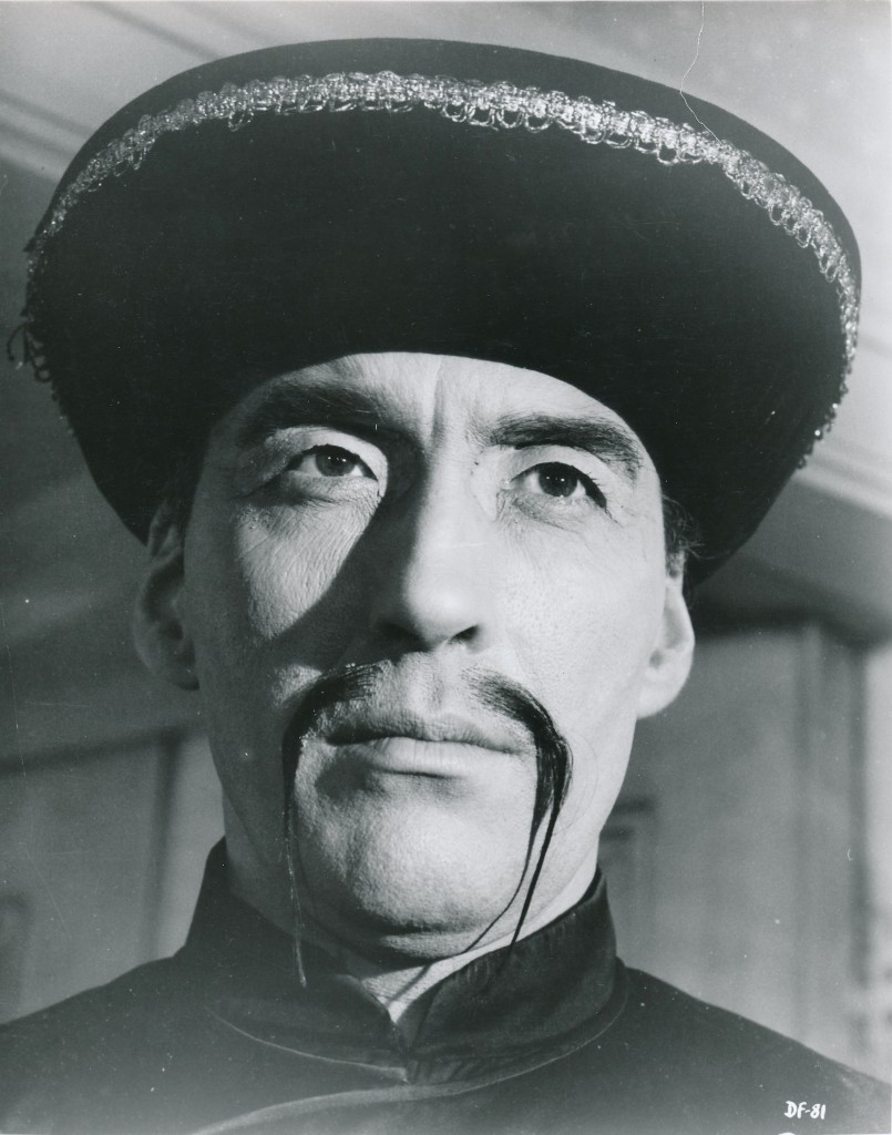 BRITISH FU #2. Christopher Lee was persuaded by producer Harry Alan Towers to star in a series of Fu Manchu feature films during the 1960s. They were dismal affairs, and best left forgotten. Of course, to no fault of Mr. Lee, who tried his best. (c) Warner Brothers