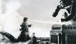 How better to launch Halloween Month here at the Funhouse than with the Big G himself. Here we have Godzilla giving the beat-down to King Kong in gay Paree. Notice how the still artist has pasted in an image of Kong from the 1933 RKO classic film? This scene is from the iconic 1960s epic, King Kong vs. Godzilla. (c) Universal Studios.