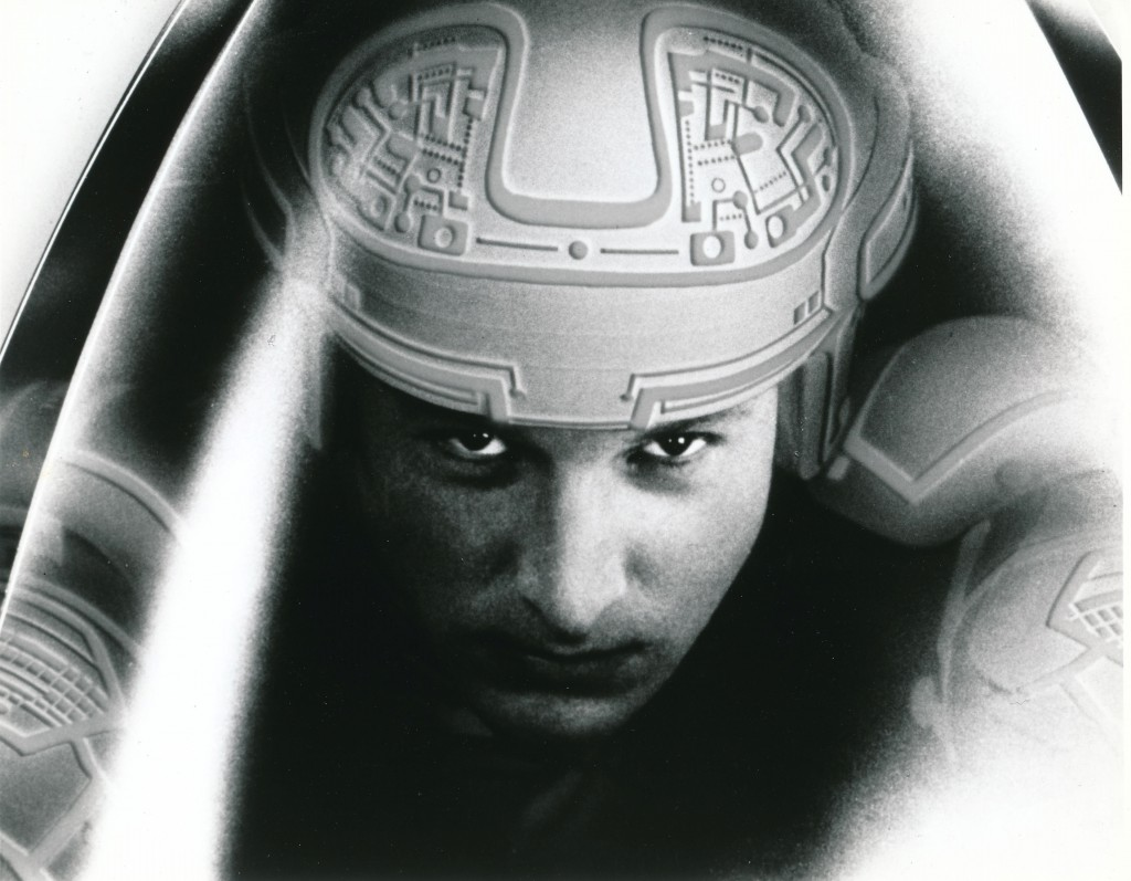 While not a monster, here's an atmospheric portrait of actor Bruce Boxleitner from Disney's experimental film, Tron, released in 1982. While it was considered cutting-edge at the time, the effects are cheesily dated when viewed today. Still, a nice try for the Disney folks, who at that time were content to churn out Herbie movies and cringe-worhy family fare. (c) Walt Disney Company