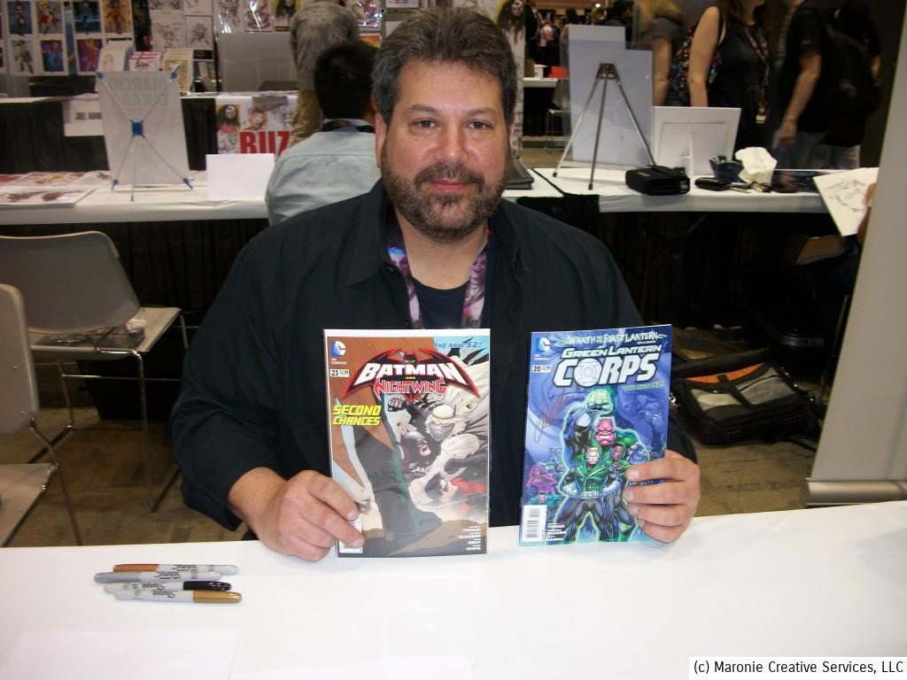 There were some writers in attendance! Here's scribe Peter Tomasi showing off some of his work.