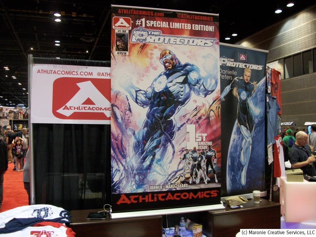 It was Year Two for Chicago Bears player Israel Idonije's Athlitacomics imprint. Their flagship title, 'The Protectors' has developed into a big hit. They were premiering their special #1 edition at the show for eager fans.