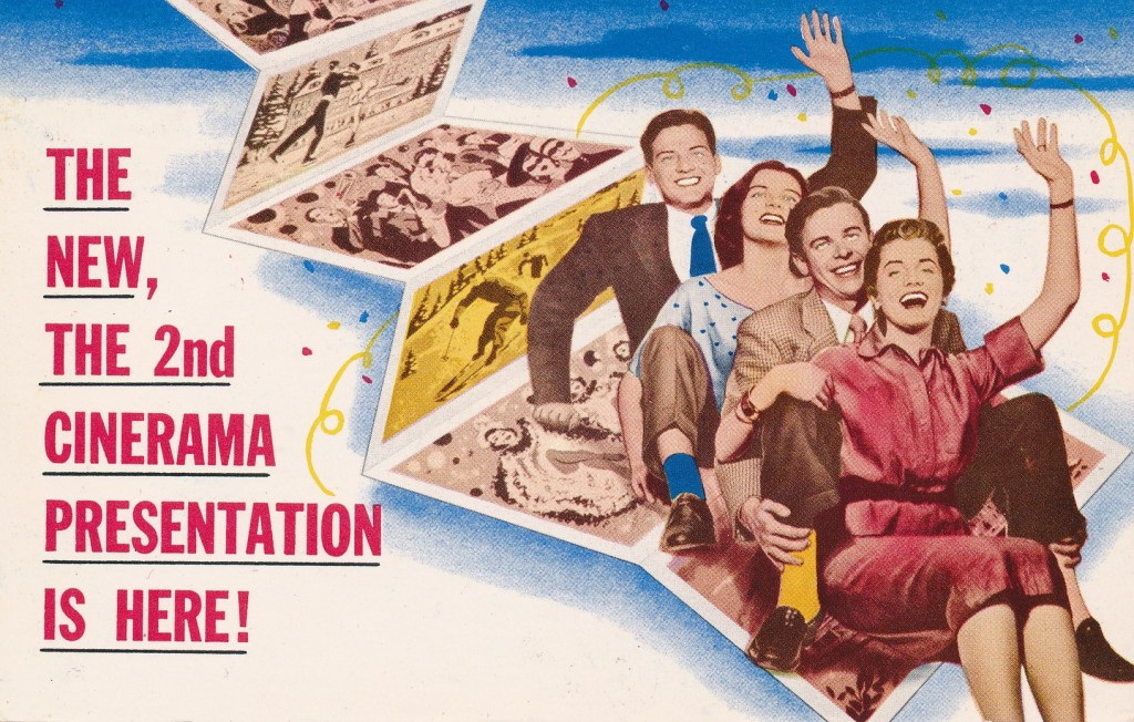As the card says, this is the next Cinerama presentation (1955), following the initial entry, This is Cinerama (1952).  Basically a travelogue, the film features sequences such as a point-of-view bobsled ride and other thrilling footage. Long considered lost, this has been rediscovered and recently released on Blue-Ray.