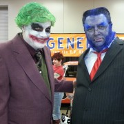 Two outre characters met up at Wizard World this past weekend. The villainous Joker and the heroic Beast put their heads together for convention photographers.