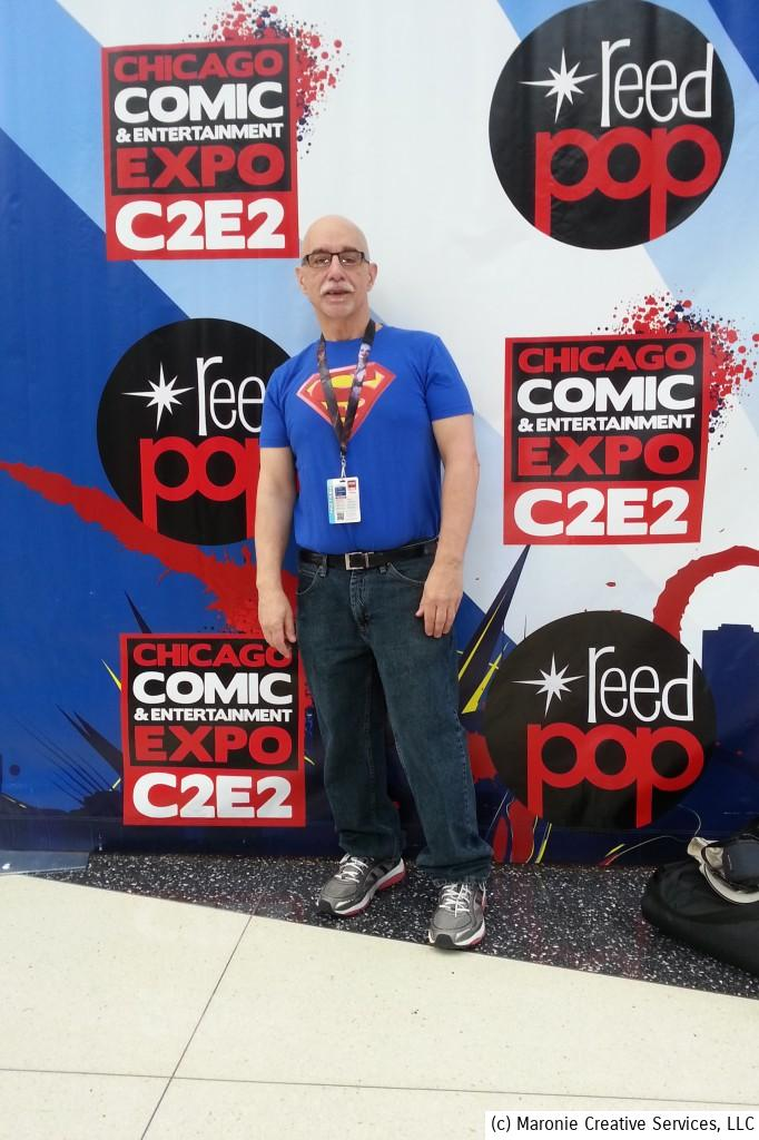 Blogmeister Sam strikes a pose on the C2E2 runway. This was a great vantage point to people-watch and take in all the great costumes!