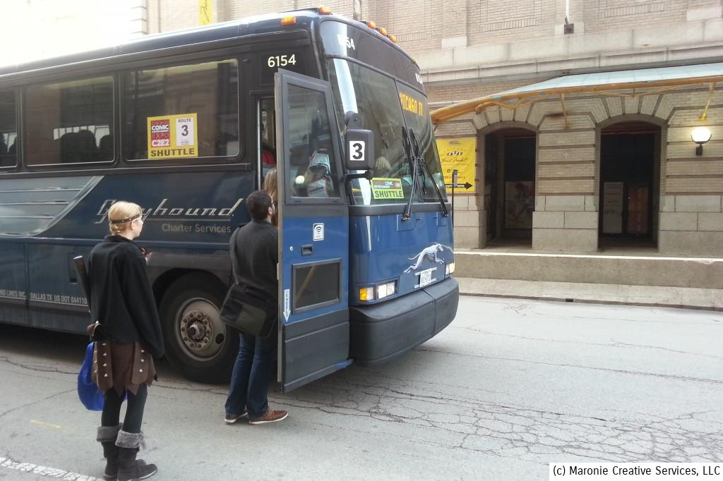 DAS BUS. One of the best aspects of C2E2 is their attention to detail. That includes providing free shuttle buses that travel from different downtown Chicago points and deliver you to the show's location at McCormick Place. They're life-savers!