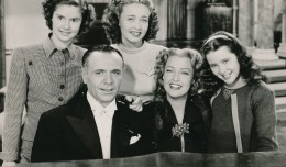 'Three Daring Daughters' (1948) was another of those turgid Joe Pasternak-produced musicals that dripped with syrupy sweetness!  They were always overstuffed with kitsch and guaranteed to bring on diabetes! There's birthday-girl Elinor Donahue on the far right. Back row are actresses Ann Todd and Jane Powell. Seated is pianist Jose Iturbi and  singer Jeanette MacDonald. (c) MGM