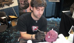 J. Anthony Kosar puts some detail work on one of his critters. Kosar was the winnter of Season 4 of the make-up competition show, Face-Off.