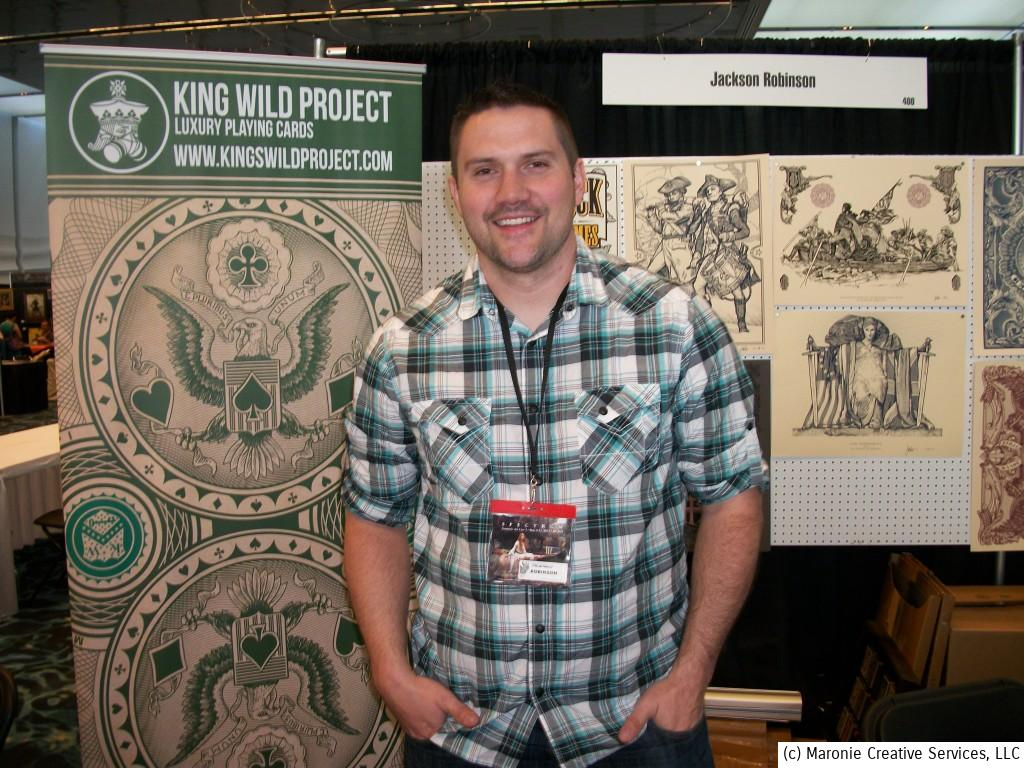 Jackson Robinson specializes in Victorian-style etchings and beautiful line-art. His versions of elaborate, vintage playing cards and intricate engravings are a marvel to behold! Ye Blogmeister purchased one of his prints to display at home.