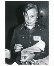 Artist Dick Ayers at a mid-1970s New York City comics convention. (Exclusive photo by Sam Maronie)