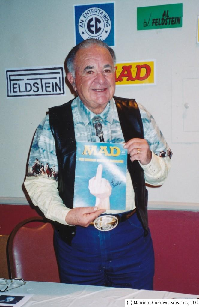 Feldstein proudly displays the infamous Mad Magazine 'Finger' cover. The April 1974 issue was considered scandalous at the time and many newsstands refused to display it.