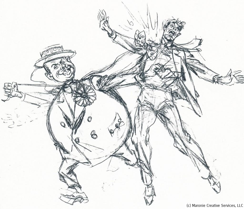 Boring enjoyed doodling and sketching out 'gags' to incorporate in stories. Here The Prankster's springing bow-tie allows him to pick the pocket of his stunned victim.