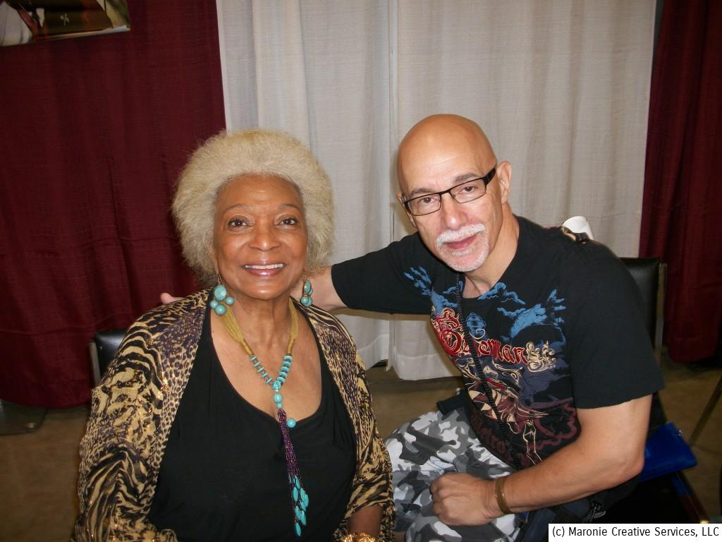 With Nichelle Nichols of classic 'Star Trek' fame. Ms. Nichols was a woman of many firsts.....the first Black female character in a regular dramatic series, and gave the first interracial screen kiss on television. She is truly a ground-breaker and a real icon!