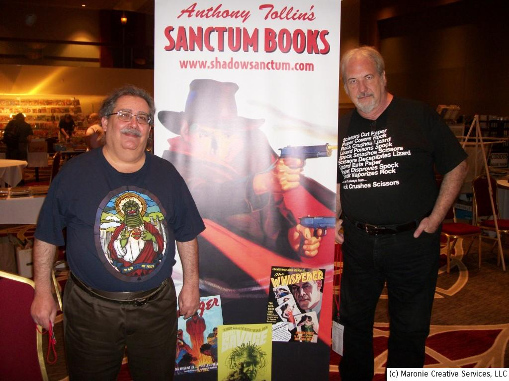 Author Tony Isabella (l) poses with Sanctum Books guru Anthony Tollin. The latter's publishing company is bringing back the complete adventures of The Shadow, Doc Savage, and other pulp heroes.