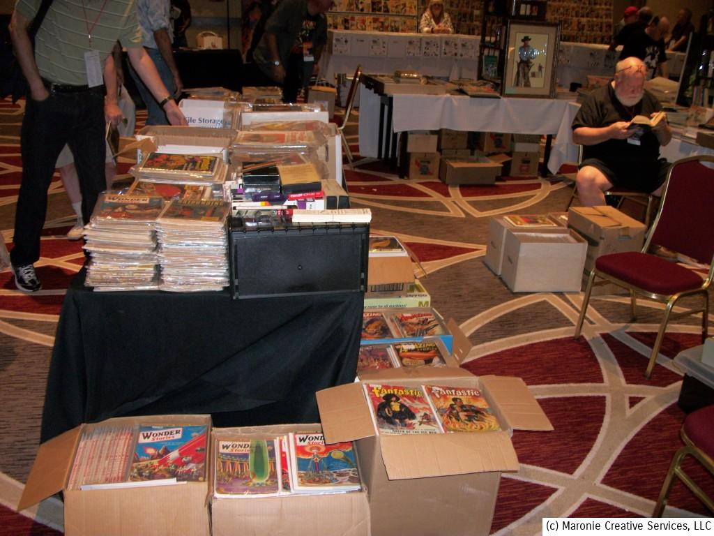 Pulpfest attendees literally spend hours poring through boxes of crumbing pulp magazines during the long weekend. Most have been collectors of these publications for many years and hoped to find that elusive issue to complete their collection!