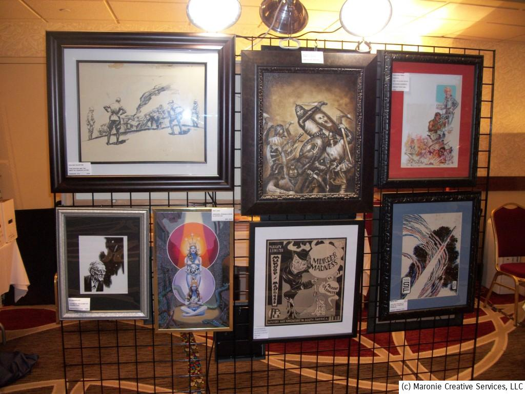 Vintage pulp-art and pulp-inspired work was on display by one dealer. Original illustrations from these old magazines are extremely rare---and very expensive.