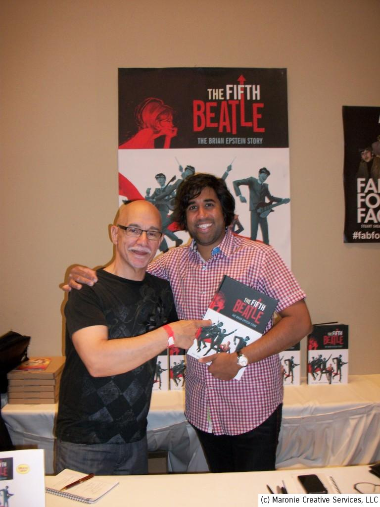 Blogmeister Sam points his finger of approval to 'The Fifth Beatle,' with author Vivek J. Tiwary, aka 'The Human Dynamo!' The two met up for an interview during Chicago's Beatlefest 2014.