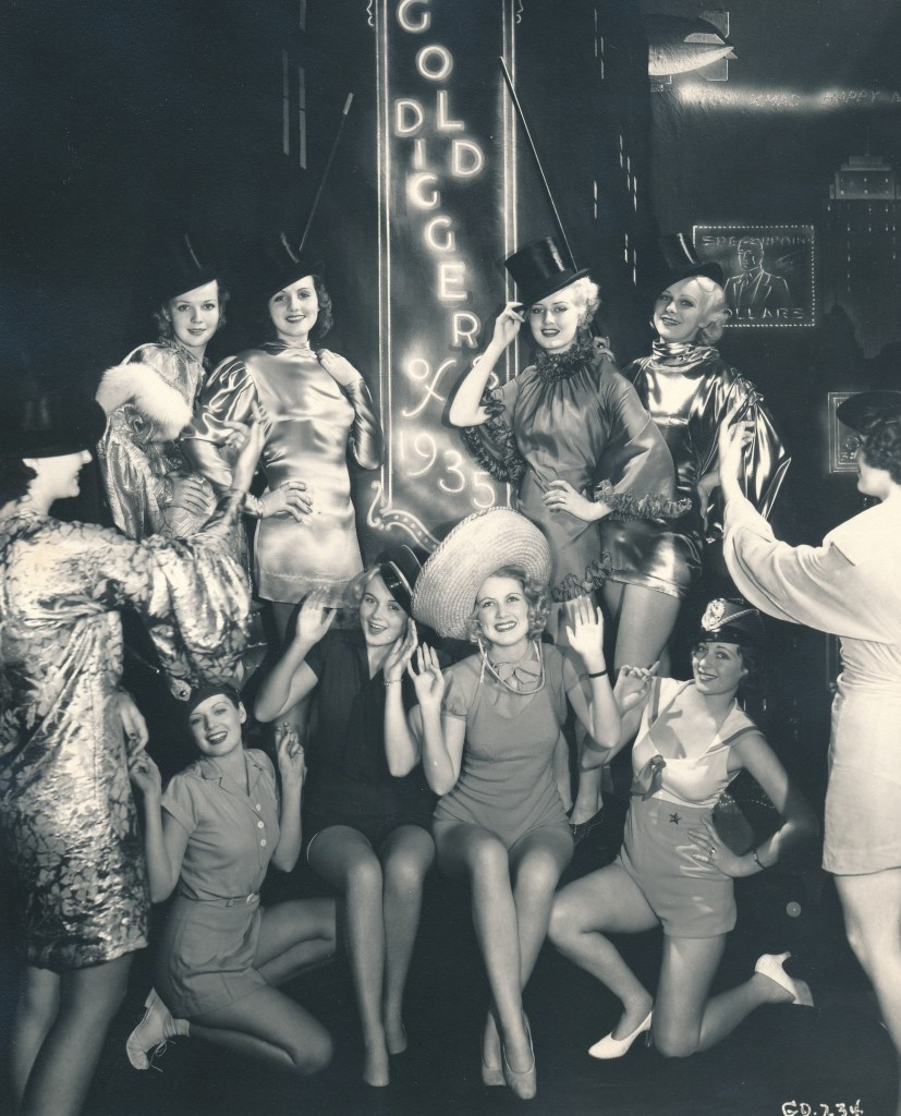 There are no stars in this vintage still. It's a cute and corny publicity shot of Warner Brothers chorines publicizing the then-new 'Golddiggers of 1935.' Whew! The still photographer choreographed this shot like one of Busby Berkeley's elaborate dance routines! (c) Warner Brothers