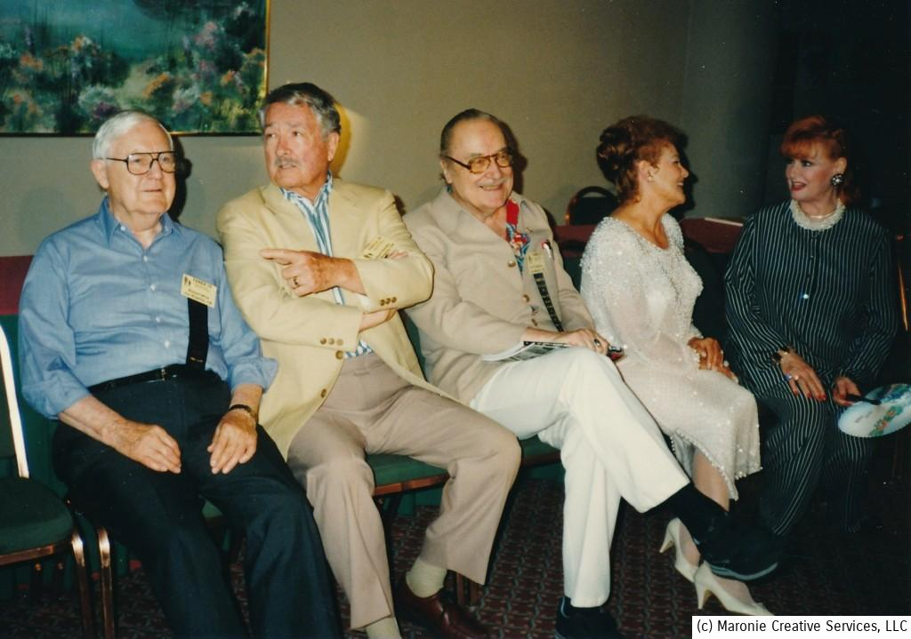 A start-studded line-up of fantasy film folk at a mid-90's FANEX convention. That's Robert Wise, far left. Next is Robert Clark (star of 'The Hideous Sun Demon' and 'The Man from Planet X'); Forry Ackerman, Kathleen Crowley, and 'War of the Worlds' ingenue Ann Robinson.